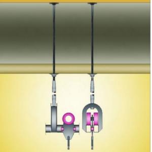 Guidovie ad uso alimentare Particolare ancoraggio guidovia con carrellino