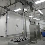 Discensore verticale con buca oleodinamico per telai portaprosciutti